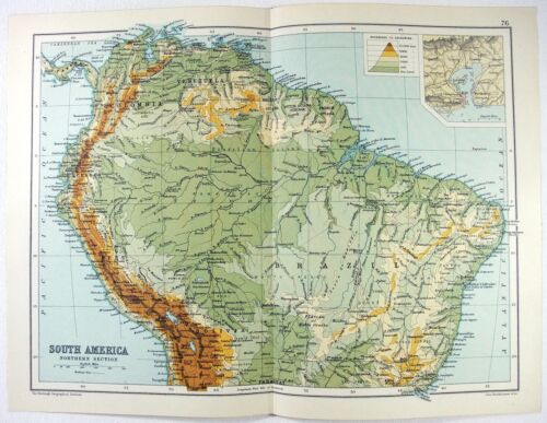 Original 1909 Physical Map of The Northern Part of South America. Antique