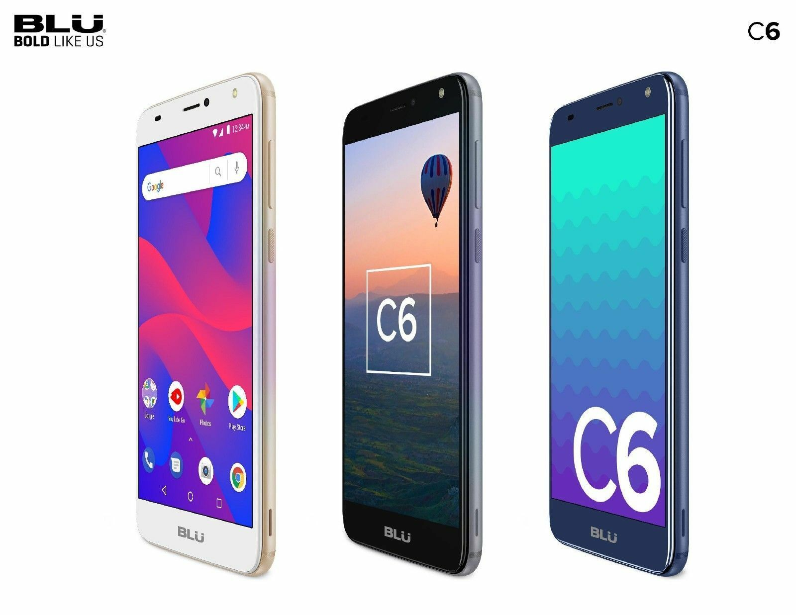 Android Phone - Blu C6 Unlocked Cell Phone 5.5'' Display 16GB/1GB ROM Android V.8.1 Oreo