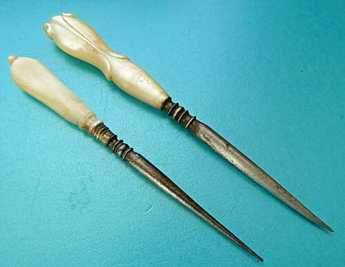 ANTIQUE 2 CARVED PEARL HANDLE .SEWING STILETTO TOOLS.NIPPPLE AND FLOWER BUD