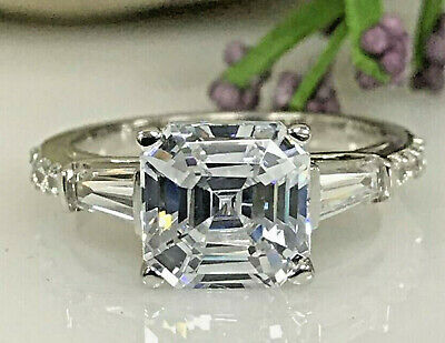 3.11 ct Asscher cut Solitaire Diamond Engagement Ring Band Solid 14k White gold -