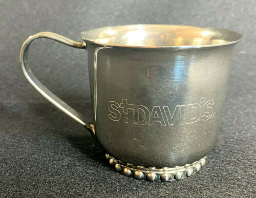 Vintage Silver Plate Child Baby Cup Engraved ST DAVID