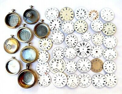 Antique Lot Porcelain Dial Pocket Watch Case Steel Nikel Longines Omega Roskopf