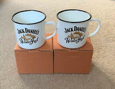 2 x Jack Daniels Winter Jack Enameld Tin Mugs New Still In Boxes