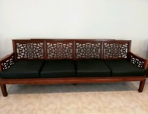 Chinoiserie Ming Style Carved Rosewood Timber Sofas and Armchairs