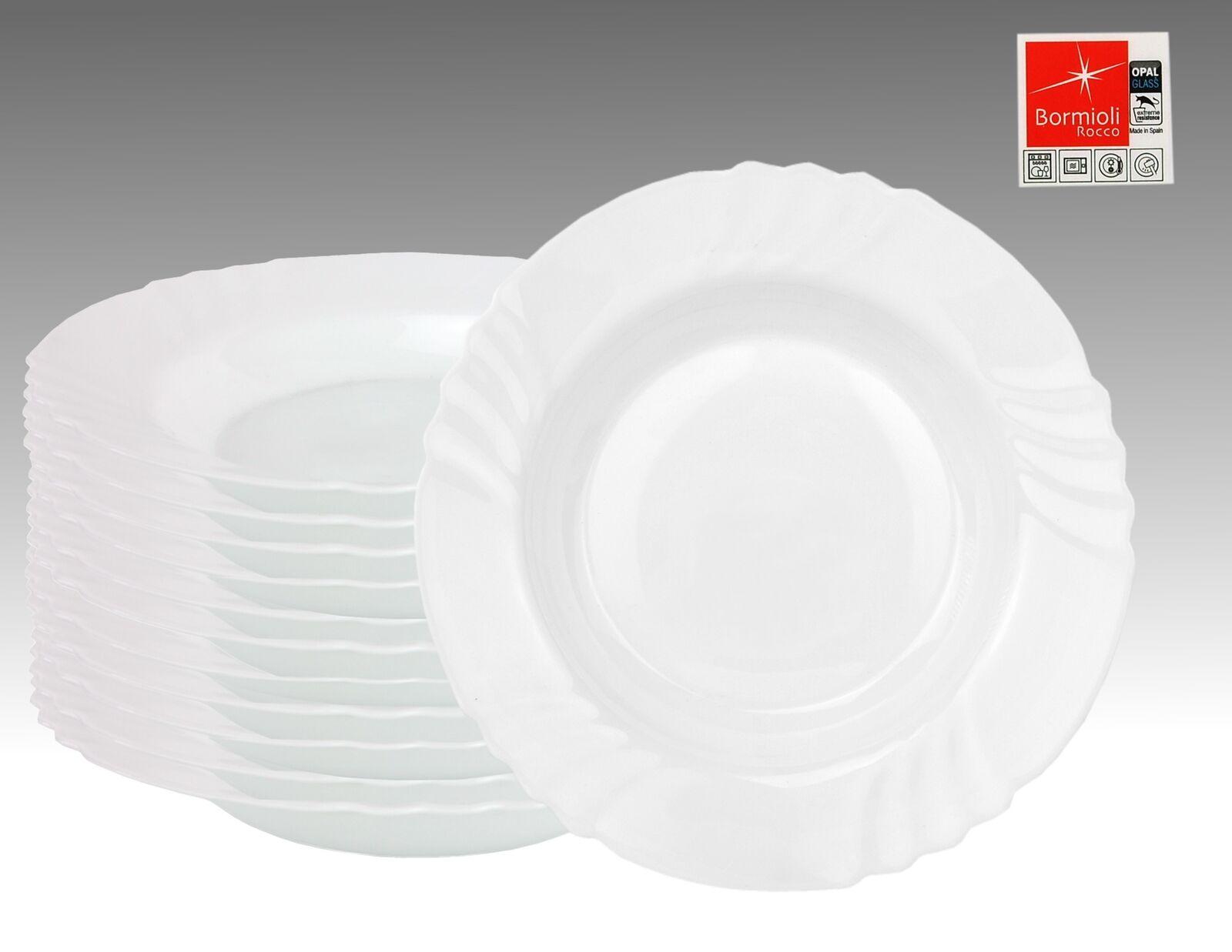 12er Set Essteller Ebro tief 23,5cm Hartglas Suppenteller weiß Teller Geschirr