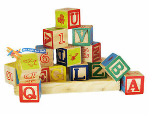 Wooden Alphabet Letters Numbers Building Blocks Cubes Bricks Traditional Toy