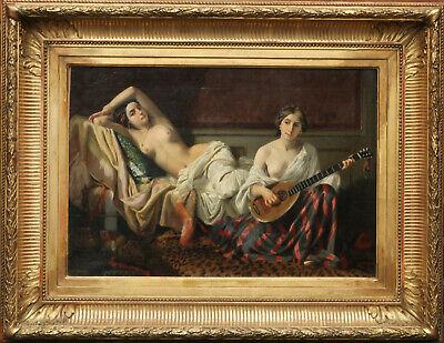 JOSEPH CARAUD FRENCH 1848 ORIENTALIST ART PORTRAIT OIL PAINTING HAREM WOMEN