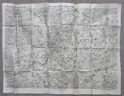 ORIGINAL WW1 Vintage 1918 GERMAN BAVARIAN ARMY MAP TOURNAI MONS MAUBEUGE BELGIUM