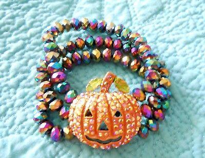 Kirks Folly Starlight Pumpkin Stretch Bracelet  Goldtone  Halloween