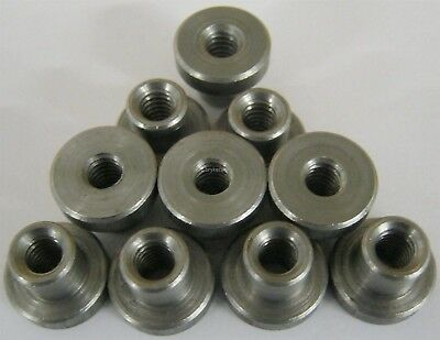 """Weld on Nuts 1/4""""-20 Thread Threaded Nut Steel Chassis Mount Tab Pack of 10"""