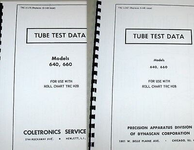 Precision Paco Tube Test Data For 640 660 Tube Testers 1967 1970 Or Both