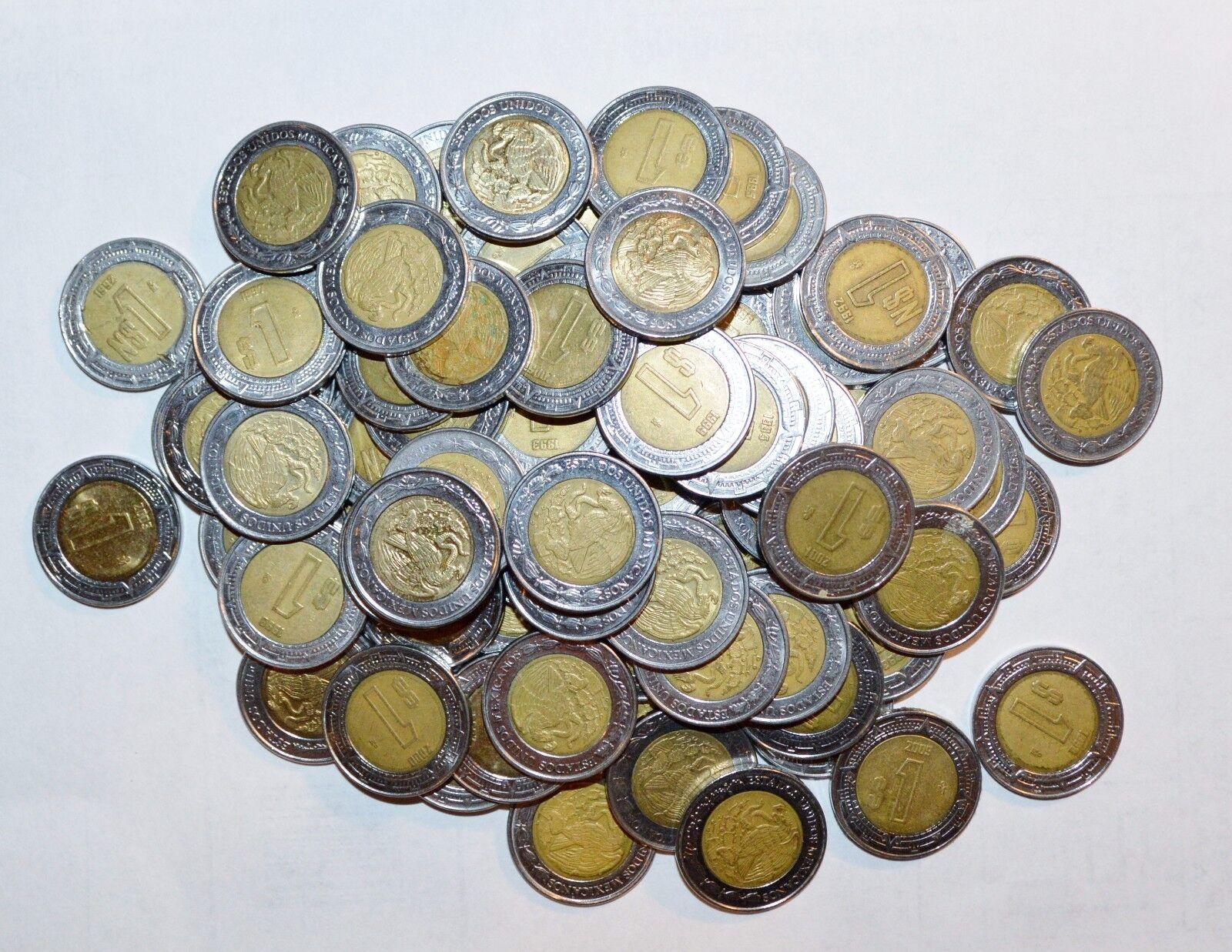 MEXICO lot BIMETALLIC 1 $1 PESO unsearched world un snake 5 coins