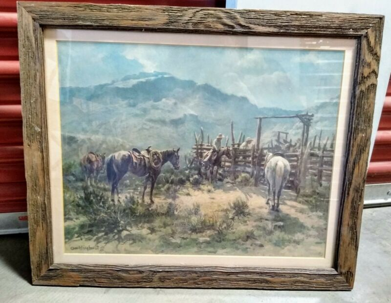 Litho Western Art Print Mountain Corral by Olaf Wieghorst Signed