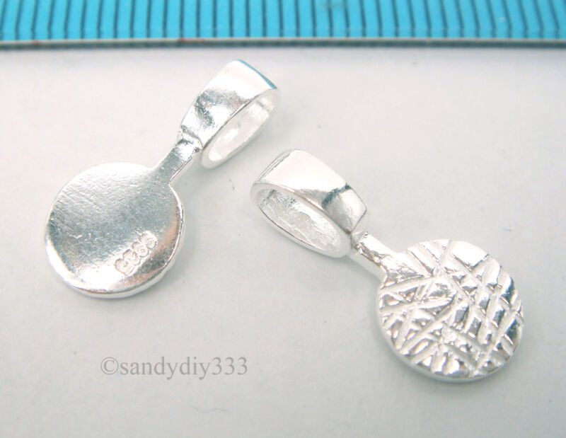 10x STERLING SILVER BRIGHT GLUE ON DROP PENDANT BAIL (#517A)