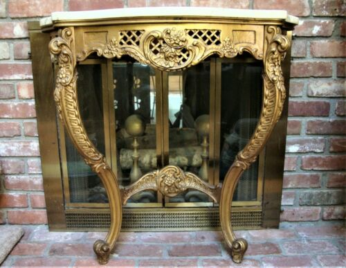 Vtg Gilt Hand Painted Wood Marble Top Console Table Aperion Manor Brooklyn NY