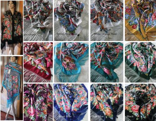 "Russian Ukrainian Gypsy Shawl Floral Oblong Scarf , Large 27"" by 77"""