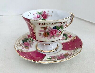 Royal Halsey Very Fine Rose Pedestal Teacup and Matching