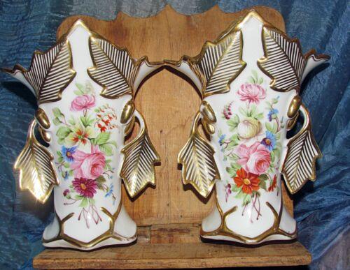antique pair old Paris vases hand painted flowers gold leaves