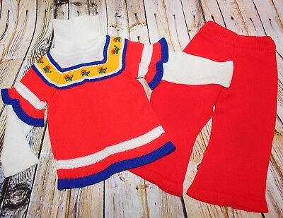 70s Girl Outfit (Vtg 70s Montgomery Ward Girl Knit Sweater Bell Bottom Flare Pant Set Outfit 2)