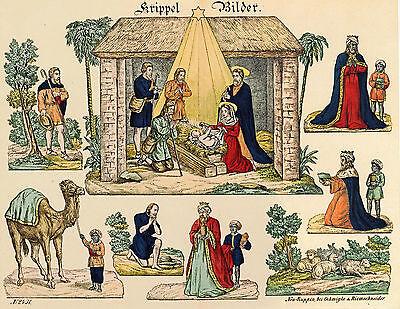 Krippel Bilder Papierkrippe zum Aufstellen Reprint von 1854 aus Museum Neuruppin