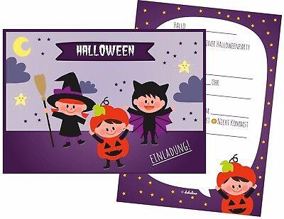 8x Halloween Einladungen für Kinder | Einladungskarten Halloweenparty
