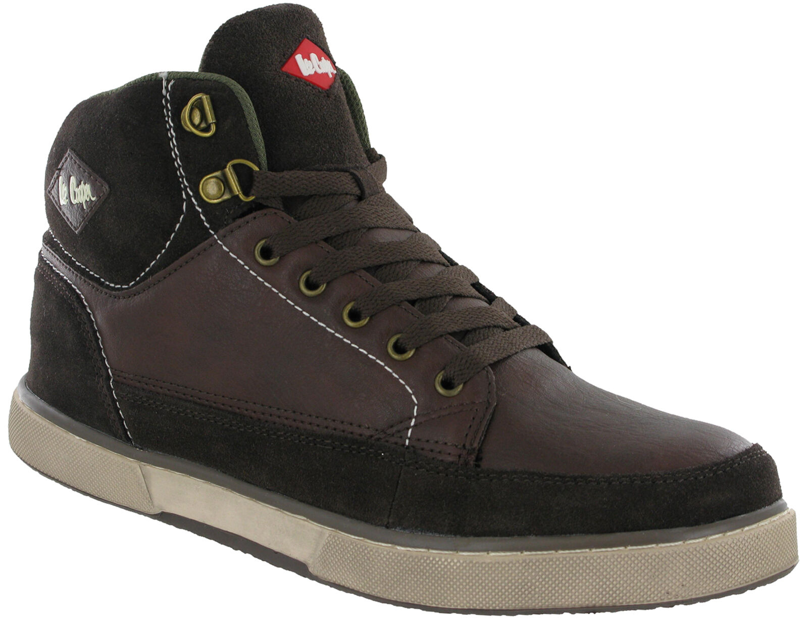 6cbaa768bd733 Lee Cooper Safety Hi-tops Leather Boots Ankle Trainers Brown Lace Up Mens  LC-086