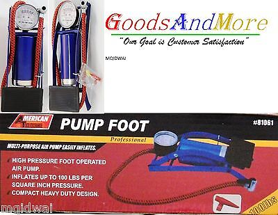 Foot Air Pump Vehicle Bicycle Bike Tire Sports Ball Portable Inflator 100psi