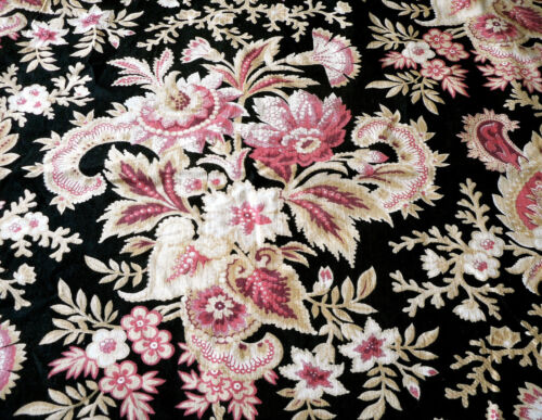Antique French Floral Cotton Furnishings Fabric ~ Black Raspberry Pink Bordeaux