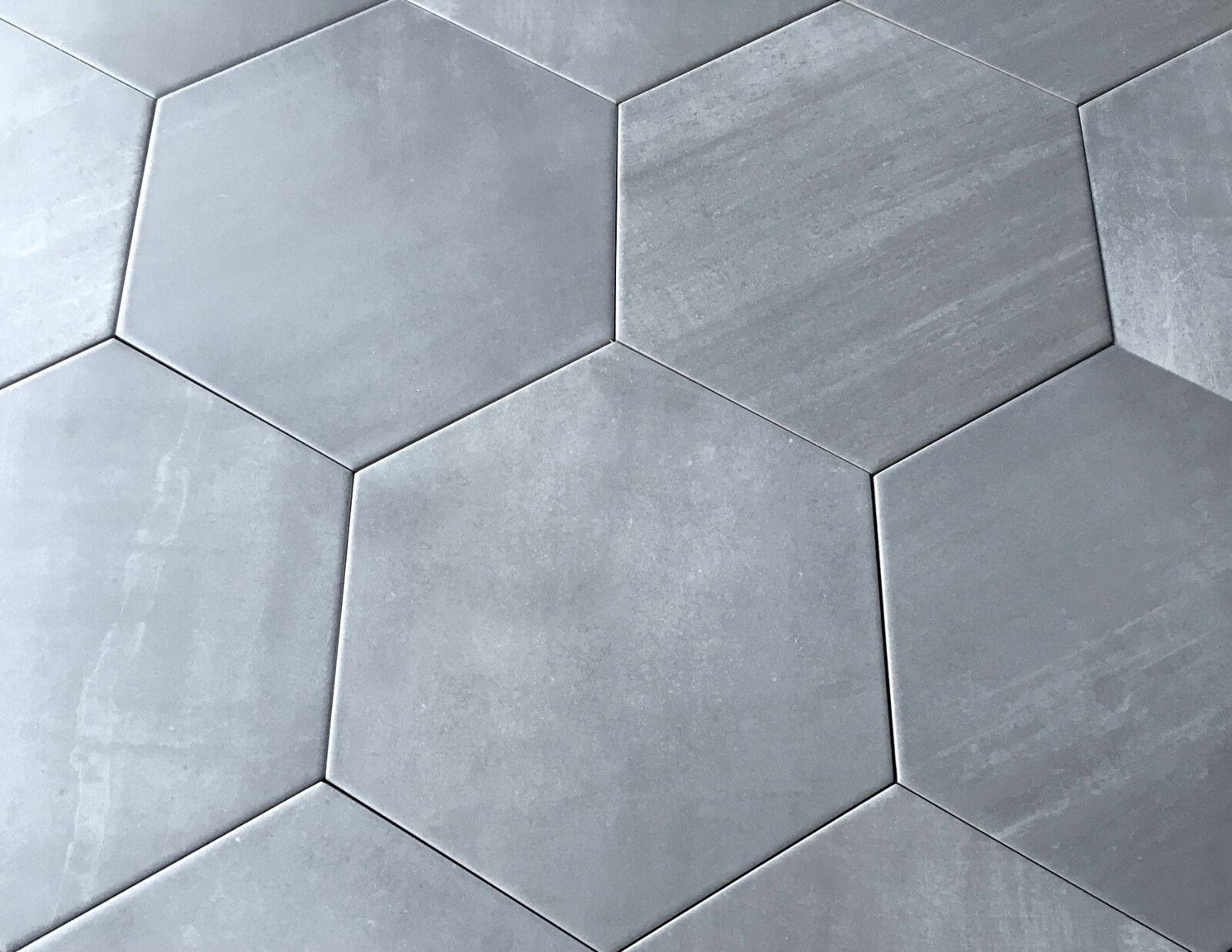 10.2 x11.4 Gray Hexagon Gris Porcelain Tile Floor and Wall