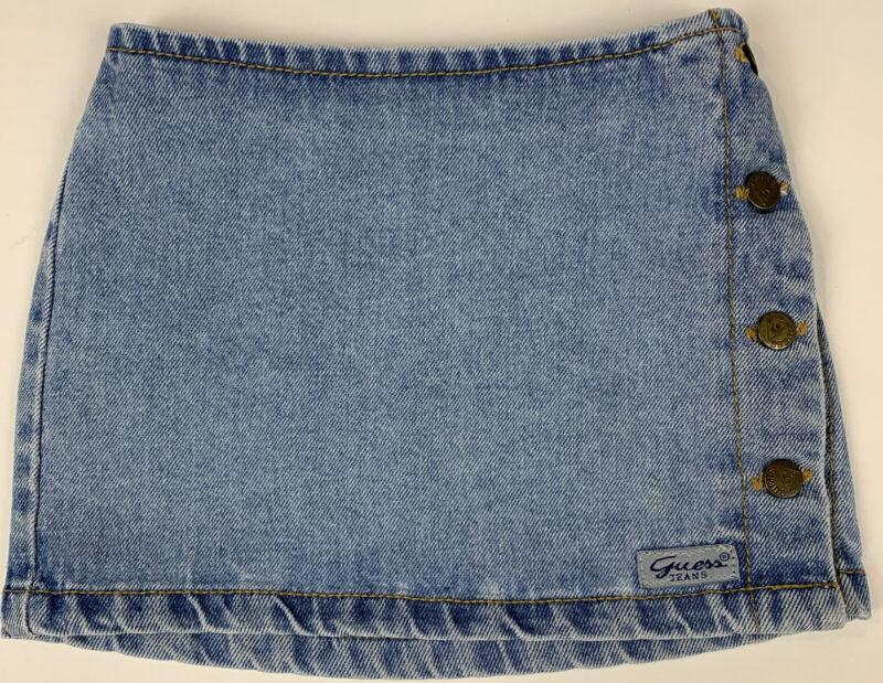 Vtg 90's Guess Girls Denim Skirt Triangle Light Wash Elastic Waist Size 24 Mths