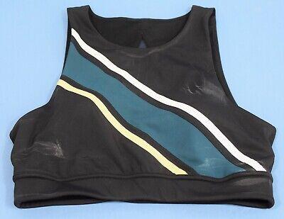 Mesh Back Sports Bra (Zella Mesh Back Front Stripe Sports Bra Black Size Medium)