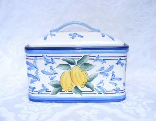INSPIRADO BREAD BOX, Stonelite Ceramic Lemon design w/ Blue - Covered