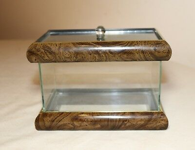 Rectangular Glass Table Top Display Wood Veneer Show Case Box W Removable Lid