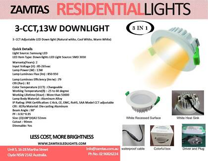 13W LED DOWN-LIGHT (3 - CCT Adjustable) Clyde Parramatta Area Preview