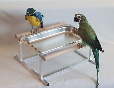 Papageien BADEWANNE Edelstahl für VÖGEL Sittiche FREISTEHEND **NEU**