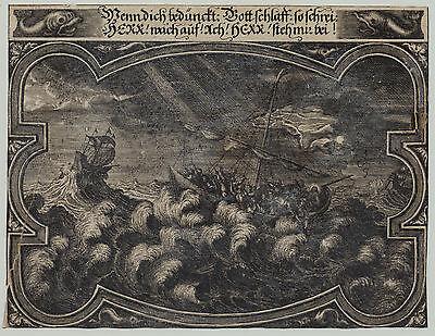 SEGELSCHIFFE in Seenot Ausnahme Original Ornament Kupferstich 1660 Nautik Meer