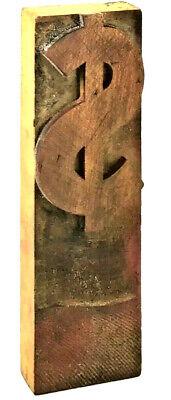 Vintage Wood Letterpress Print Type Dollar Sign Printers Block Cut 6 Unique
