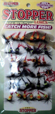 K & E Assorted Ring Fly Gnat Panfish Lures- 36 Flies- Size 12 Hook- #CFR-12-AST