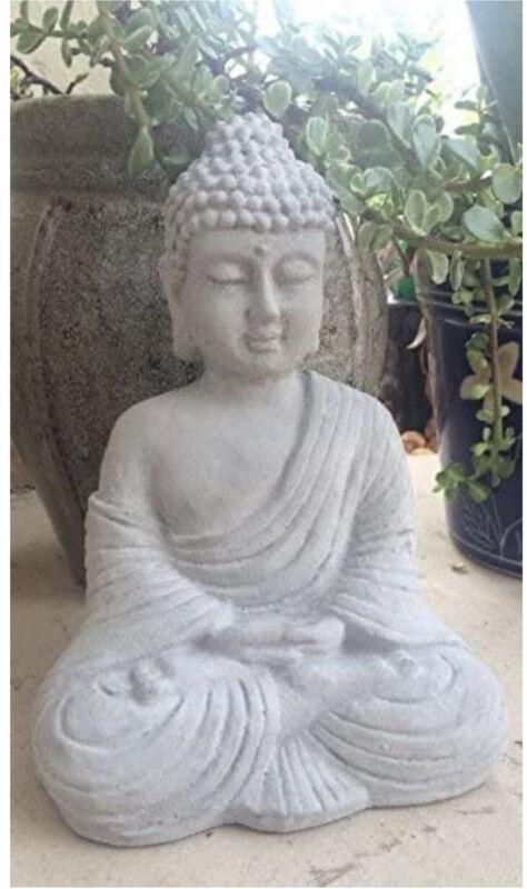 "Buddha Statue Concrete Religion Grey Garden Lawn Decor Peace Buddhism 9"" Tall"
