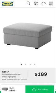IKEA kivik footstool grey ottoman with storage