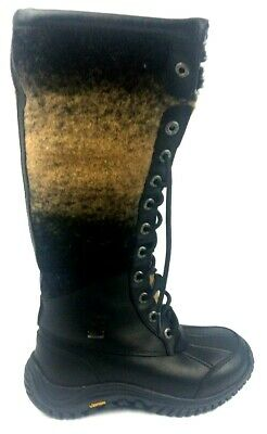 Women's UGG Adirondack Tall II Black Waterproof Leather Snow Boots Size 5.5 for sale  Upper Marlboro