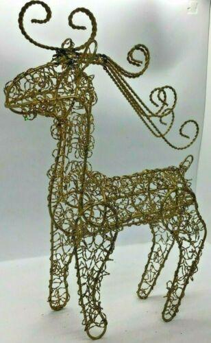 "Gold Twisted Wire Reindeer Buck Christmas Deer Centerpiece Antlers Glitter 14"""