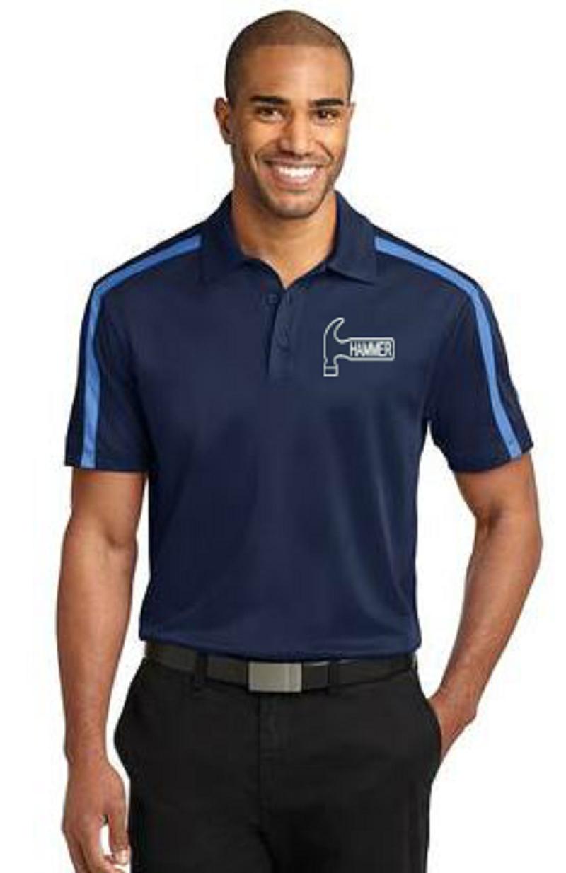 Hammer Men's Rhythm Performance Polo Bowling Shirt Dri Fit Carolina Blue