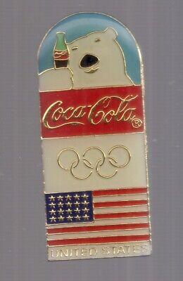 1998 Coca Cola Nagano Olympic Pin Coke Polar Bear US Flag USA Set for sale  Cartersville
