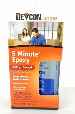 Devcon 5 Minute Epoxy Strong 1500 PSI Strength 8.5 Oz. Metal Wood Glass -
