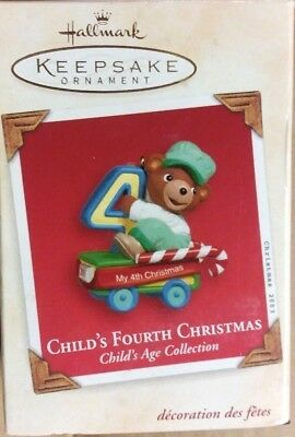 NIB 2004 HALLMARK ORNAMENT CHILD'S FOURTH CHRISTMAS AGE COLLECTION BOY BEAR (Christmas Age Bear)
