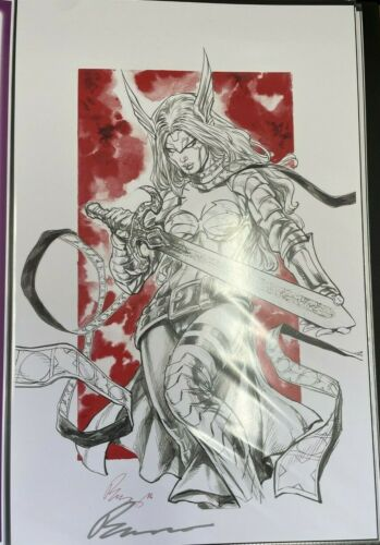 SEXY WARRIOR ANGELA WITH SWORD BUZZ SIGNED PRINT 11 x 17 #oa-586