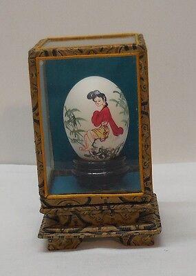 Geisha Girl Hand Painted Egg Fabric Frame Encased in Glass Vintage Artist Signed