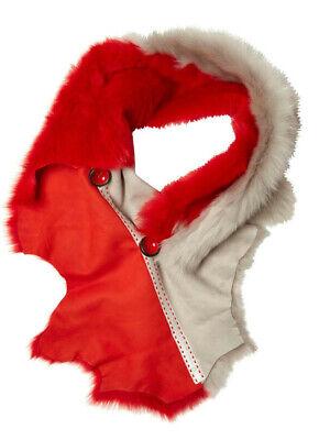 Authentic Karl Donoghue Women's Red Bi Colour Button Shrug Scarf