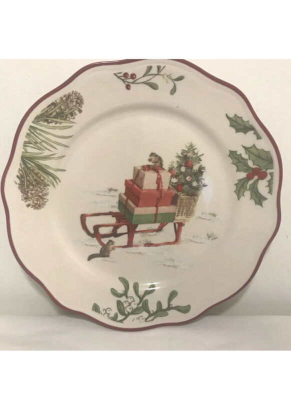 Better Homes & Gardens HERITAGE WINTER FOREST One Salad Plate SLED/ SLEIGH